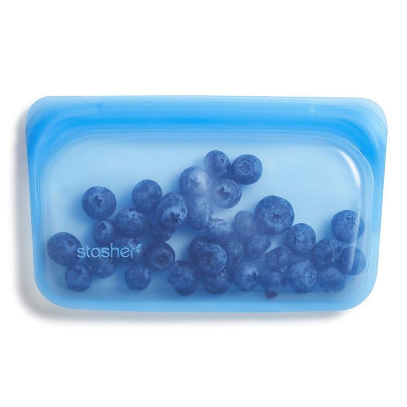 Sac à Collation Réutilisable en Silicone - Bleu Topaze