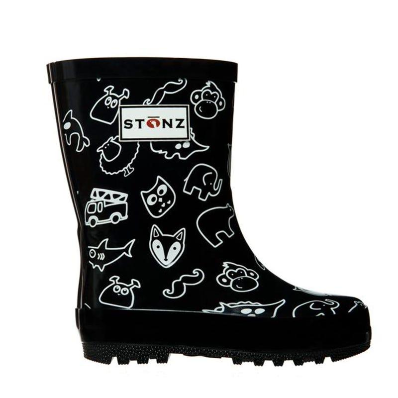 Rain Boots Print Sizes 4-2 - Black