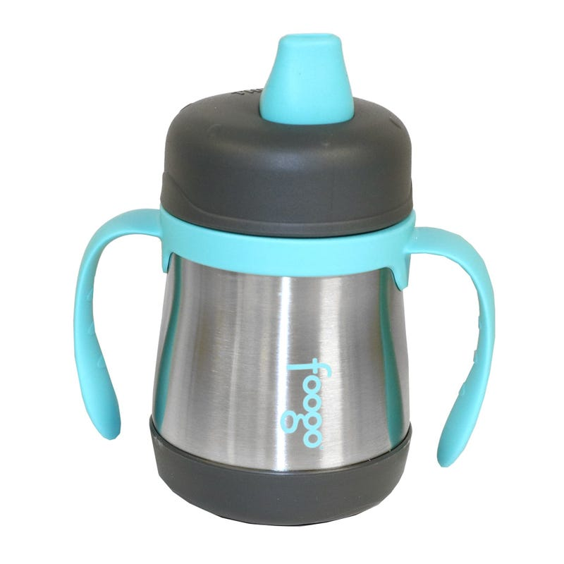 Foogo Stainless Steel Sippy Cup With Handles 7oz - Charcoal/Teal