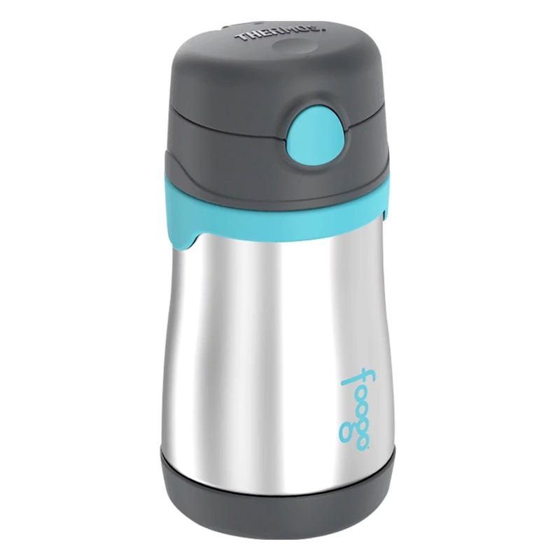 Foogo Stainless Stell Straw Bottle 10oz - Charcoal/Teal