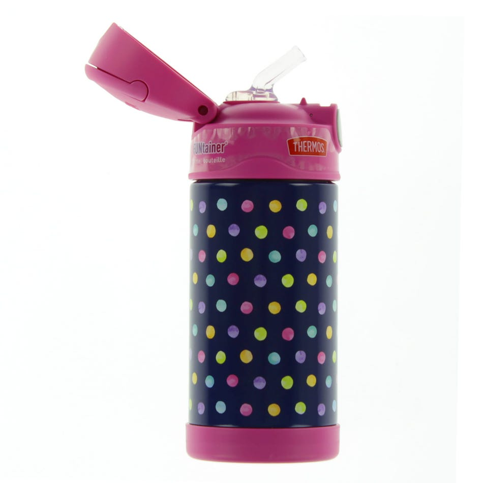 Thermos Funtainer Stainless Steel Water Bottle With Straw 12oz - Pink Dots  - Clement