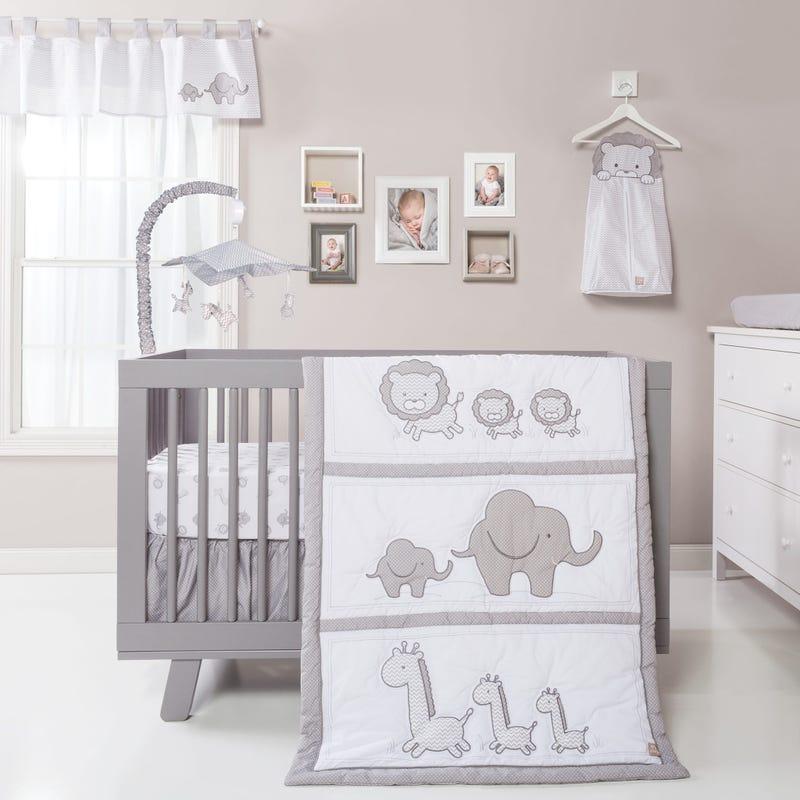3-Piece Crib Bedding Set -  Safari Chevron