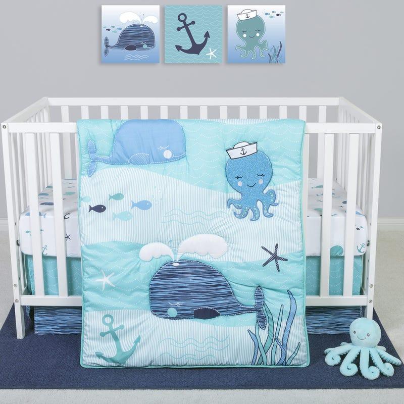 4-Piece Crib Bedding Set -  Nautical