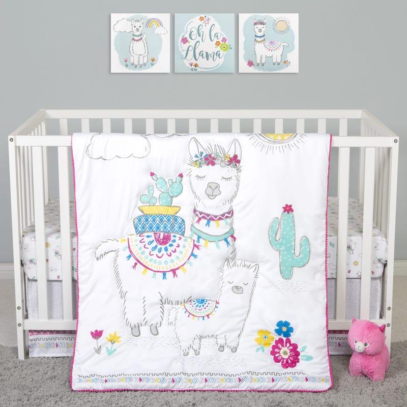4-Piece Crib Bedding Set -  Lama