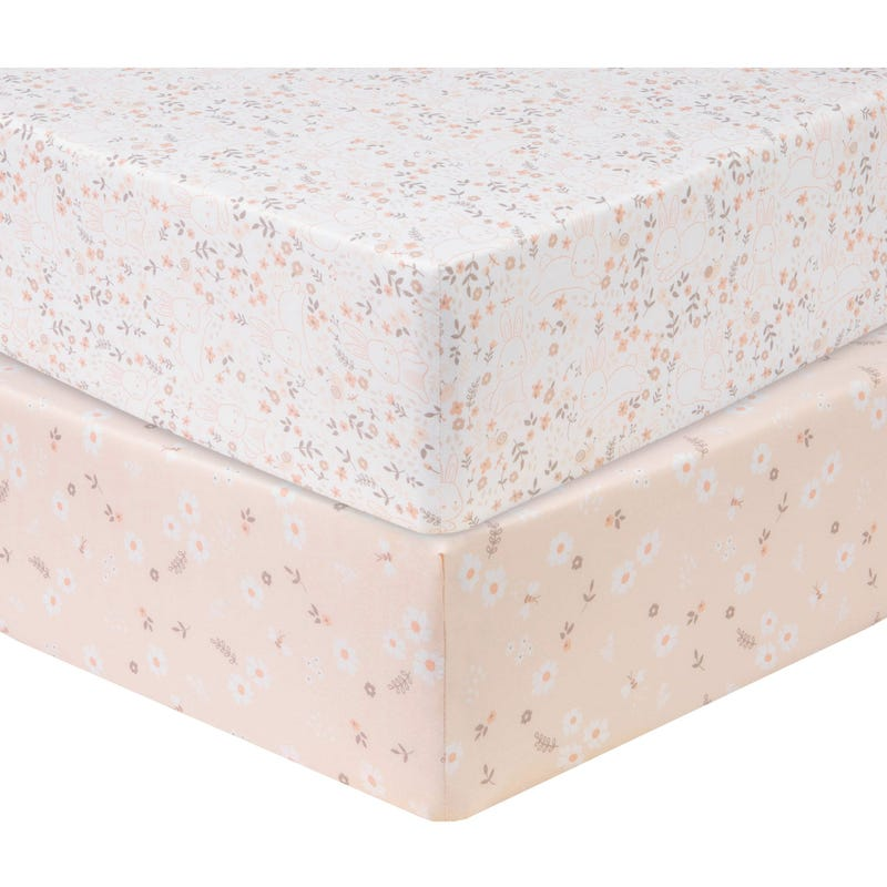 2 Pack Fitted Crib Sheets - Floral