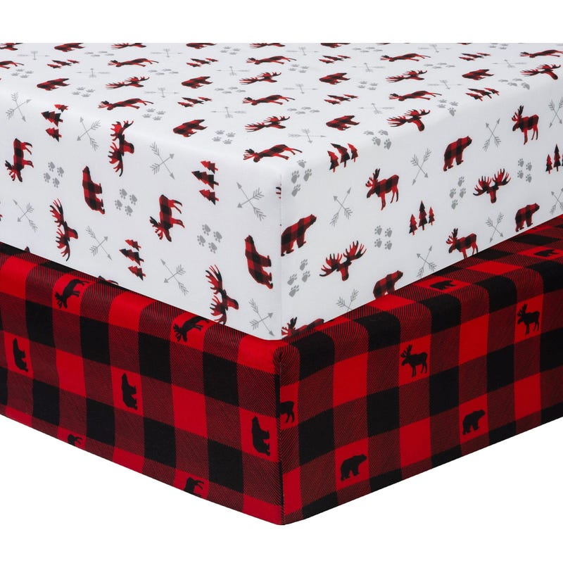 2 pack Fitted Crib Sheets - Lumberjack