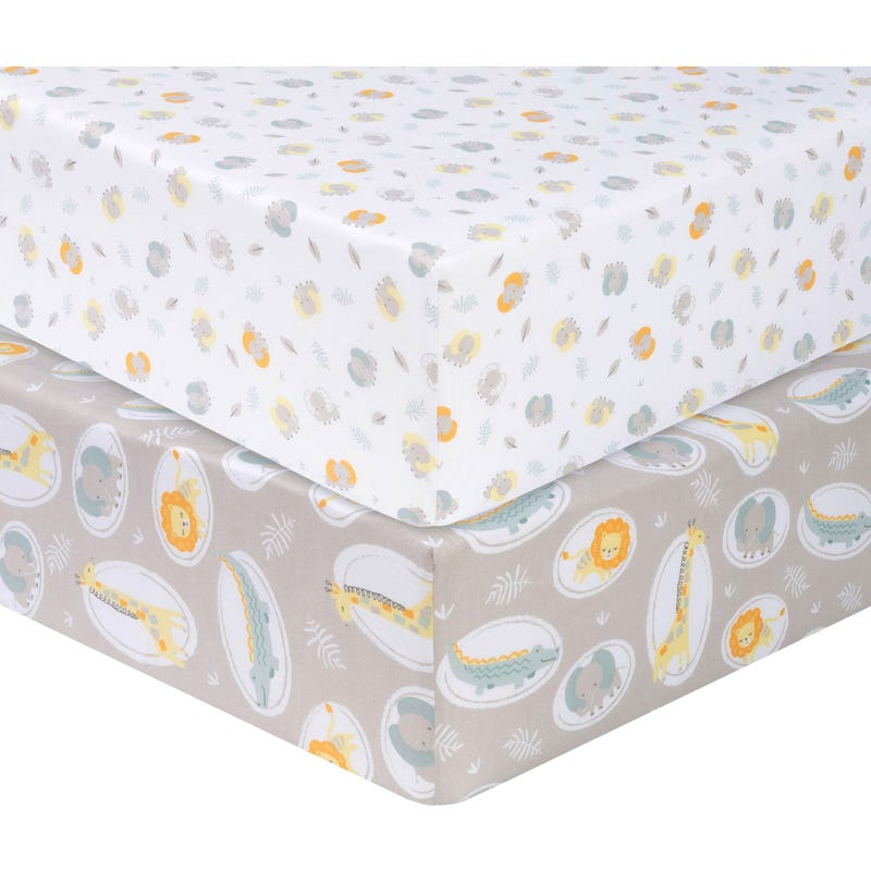 2 Pack Fitted Crib Sheets - Jungle