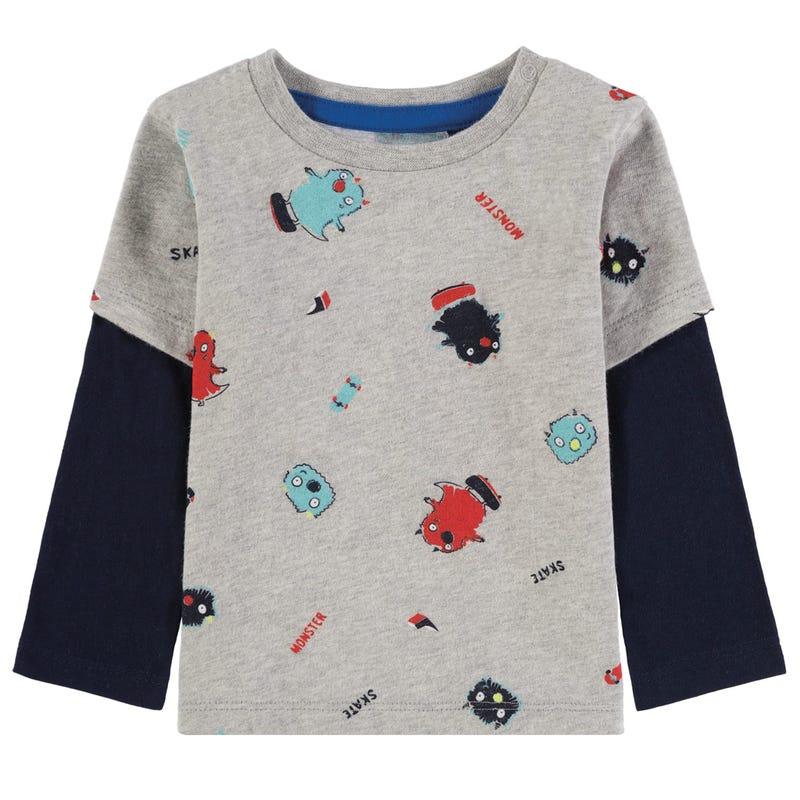 Monster Print Long Sleeve T-Shirt 9-24m