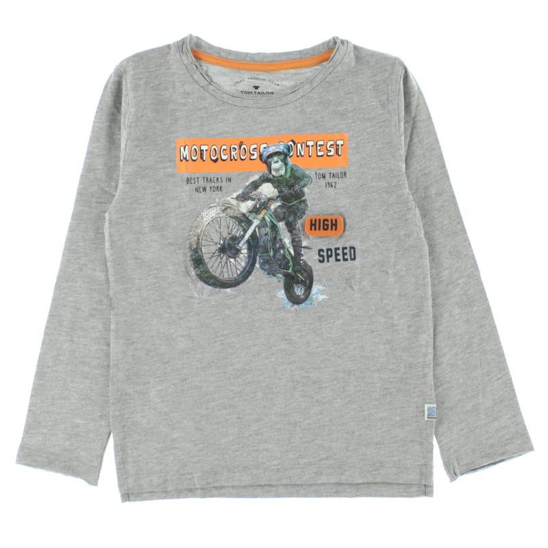 T-Shirt à Manches Longues Imprimé Motocross 2-9ans