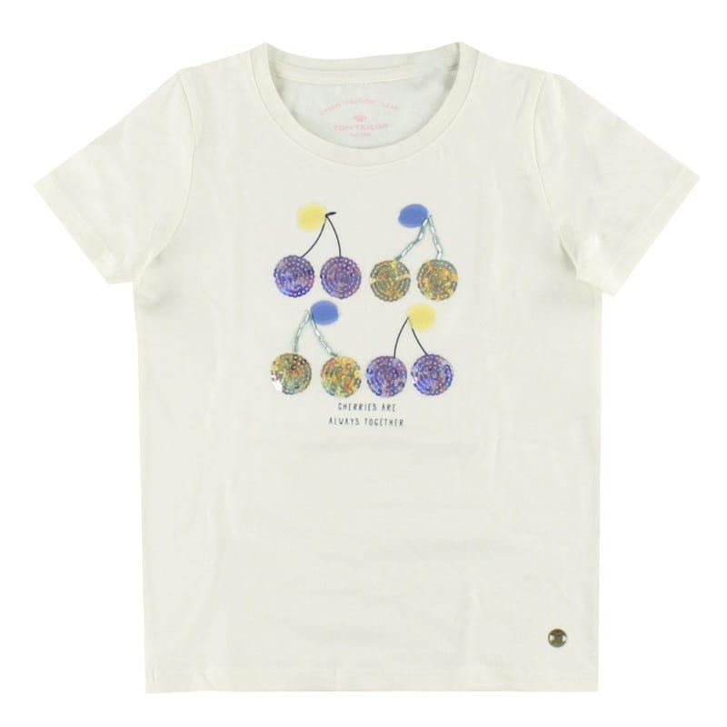 T-Shirt Sequins Cerise 2-9ans