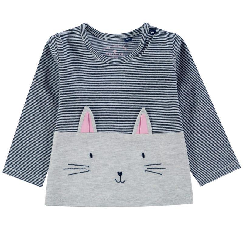 Cat Striped L/S T-Shirt 9-24m