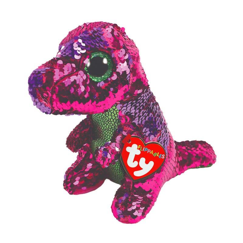 Peluche Dinosaure Paillette Stompy Regular- Vert/Rose