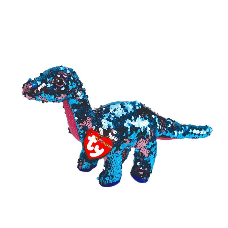 Peluche Dinosaure Paillette Tremor Regular- Aqua/Rose