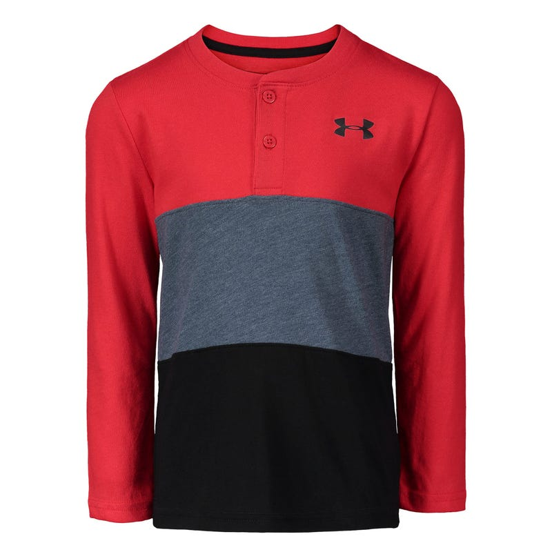 Colorblocked Henley LS T-Shirt