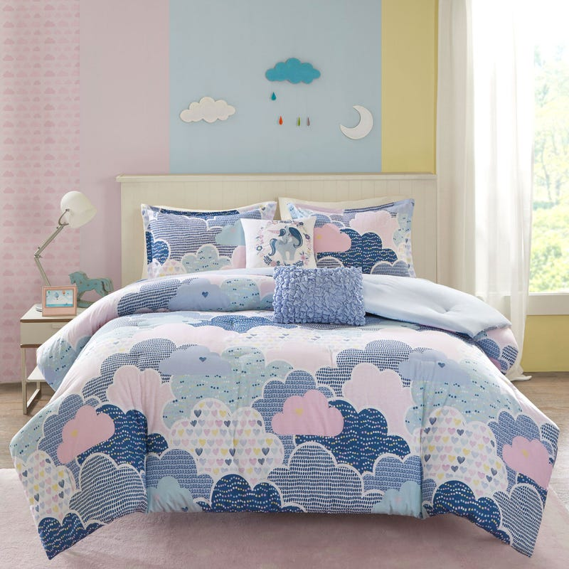 4 Pieces Twin Comforter Set - Blue Clouds
