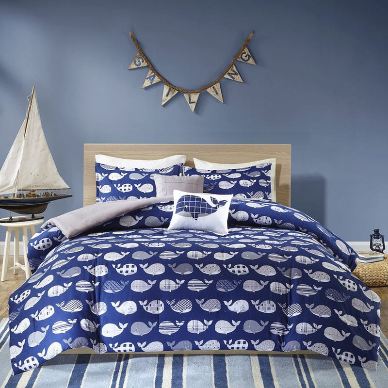 4 Pieces Twin Comforter Set - Whales