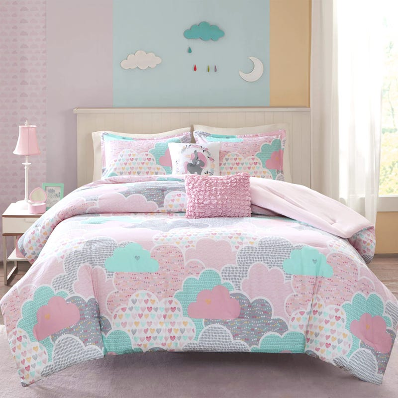 5 Pieces Double/Queen Comforter Set - Pink Clouds