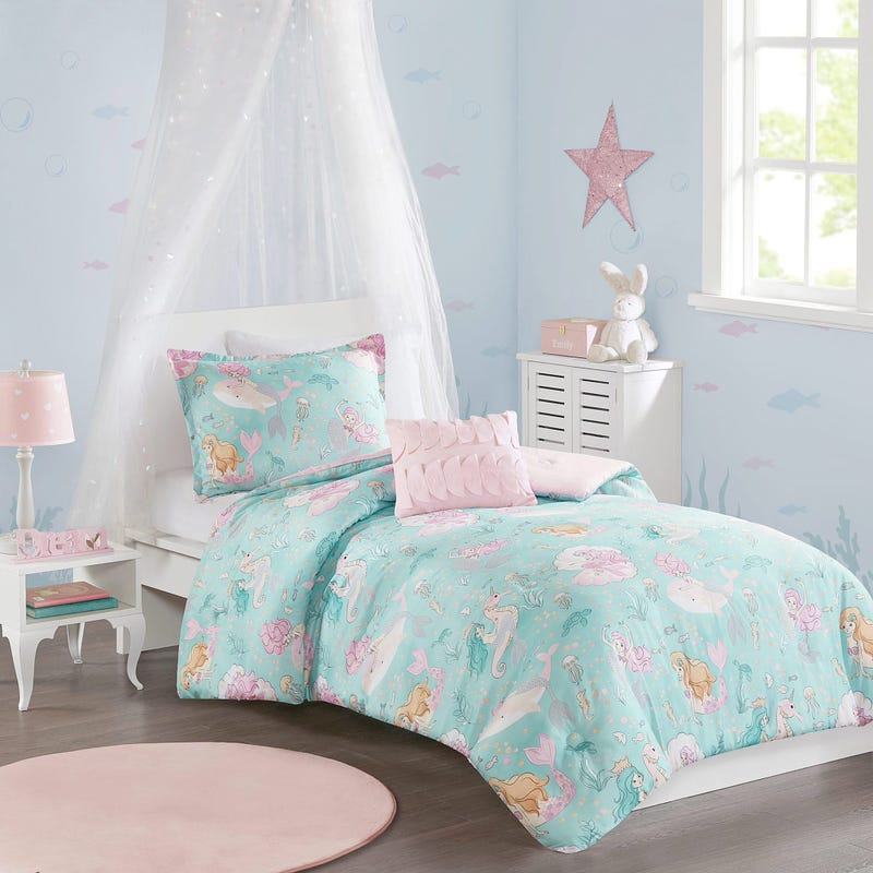 4 Pieces Double/Queen Comforter Set - Mermaid