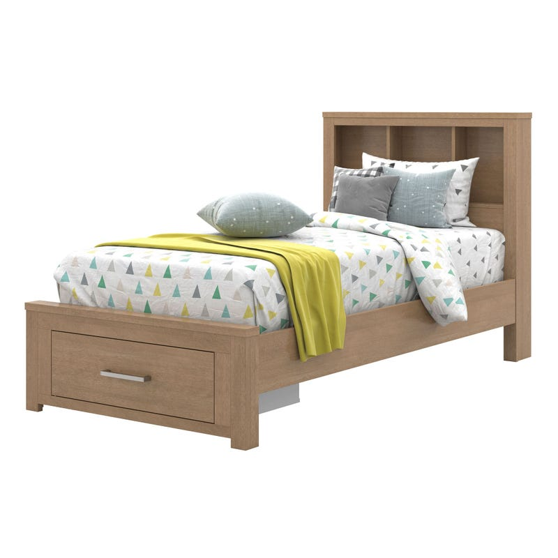 Twin Bed with Bookcase - Chestnut