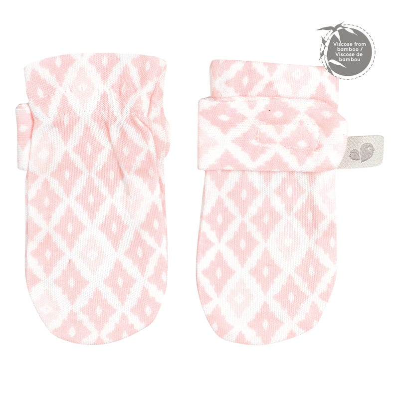 Bamboo Anti-Scratch Mitts 0-9m - Pink Diamonds