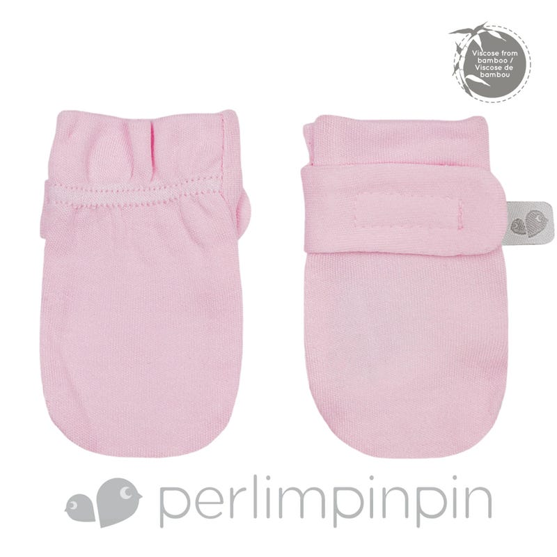 Bamboo Anti-Scratch Mitts 0-9m - Light Pink