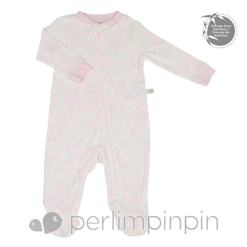 Bamboo Sleeper 0-6m - Pink Hearts