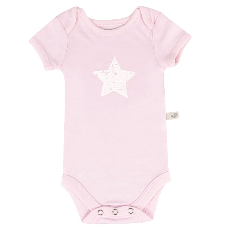 Bamboo Solid Short Sleeve Onesie 0-9m - Pink Star