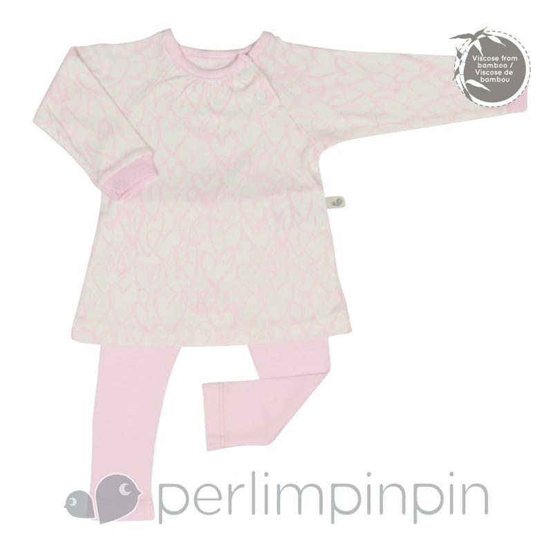 Quilted Bamboo T-Shirt and Lounge Pants 0-6m - Pink Hearts