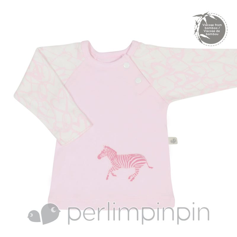 Bamboo Long Sleeve Shirt 0-9m - Pink Hearts