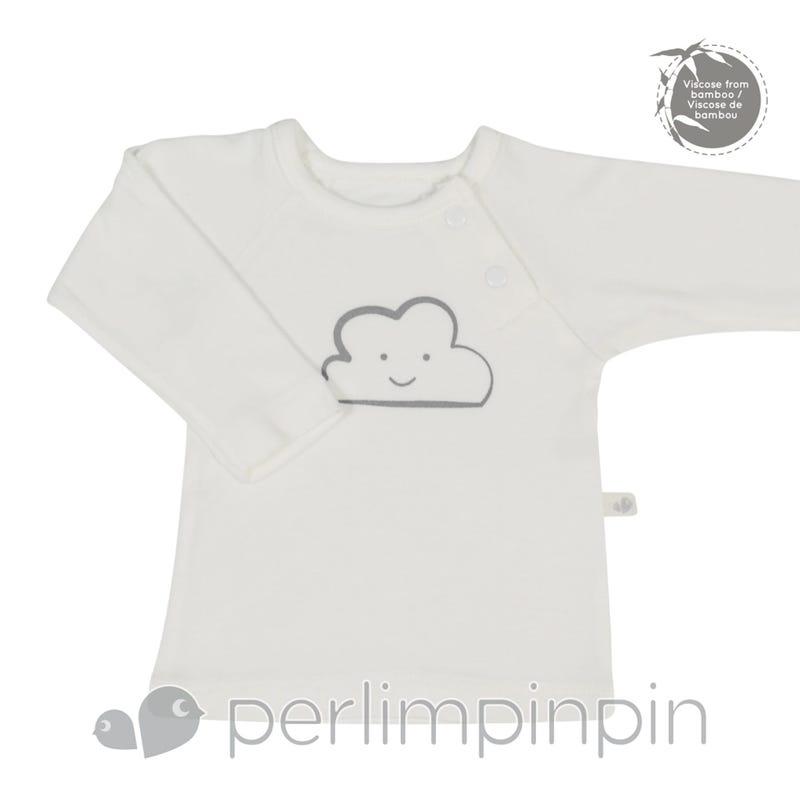 Bamboo Long Sleeve Shirt 0-9m - Ivory Cloud