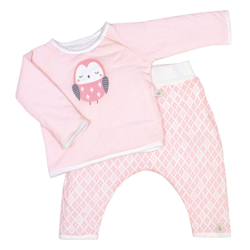 Ens.2pces bamboo pink 0-9m