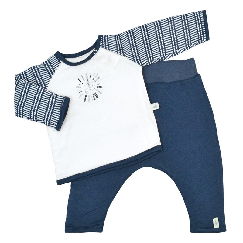 Quilted Bamboo T-Shirt and Lounge Pants 0-6m - Navy