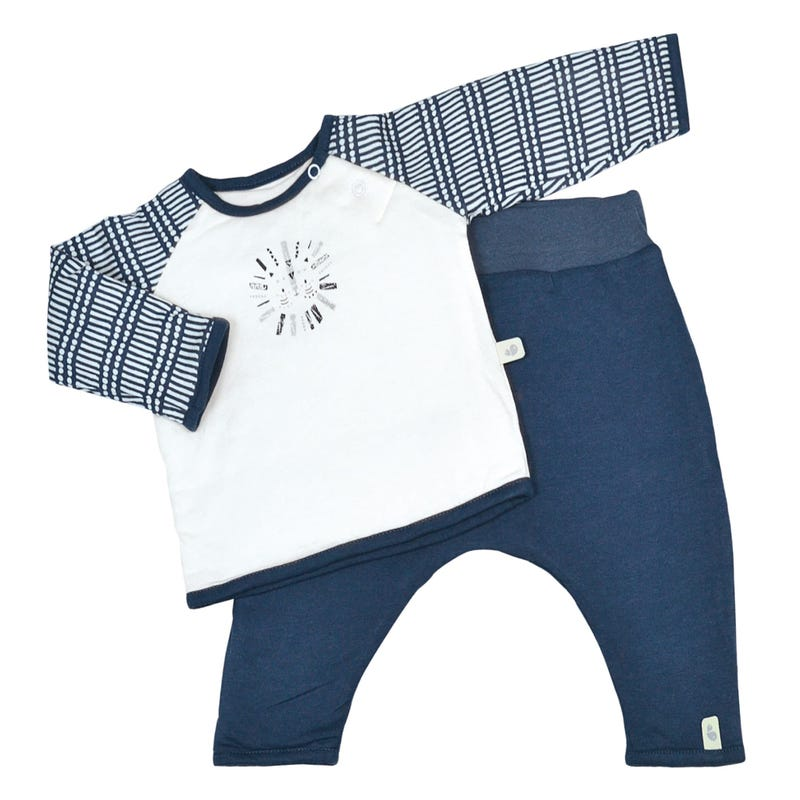 Ens.2pces bamboo navy 0-9m