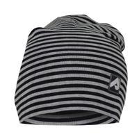 Cotton Beanie 0-24m - Black Striped