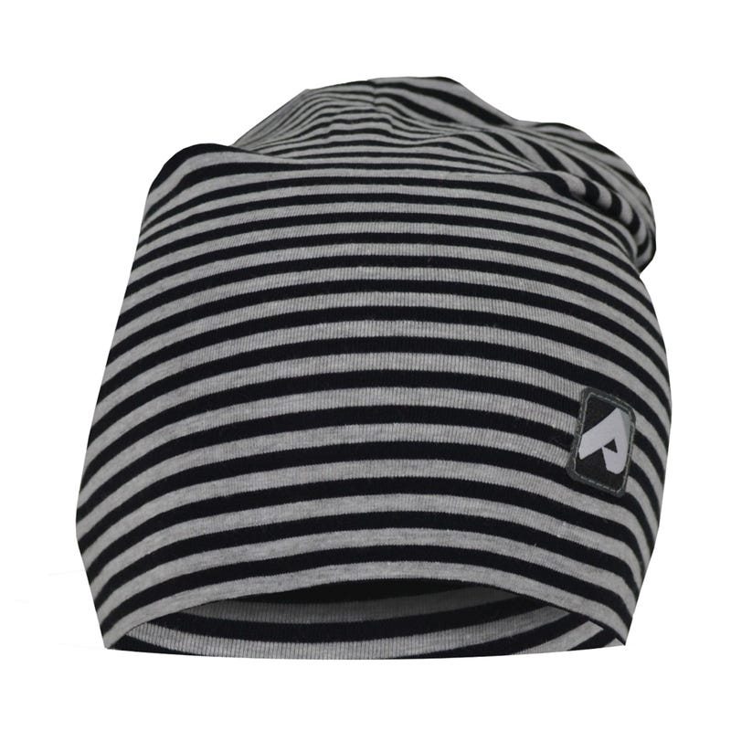 Cotton Beanie 0-24m - Black Striped