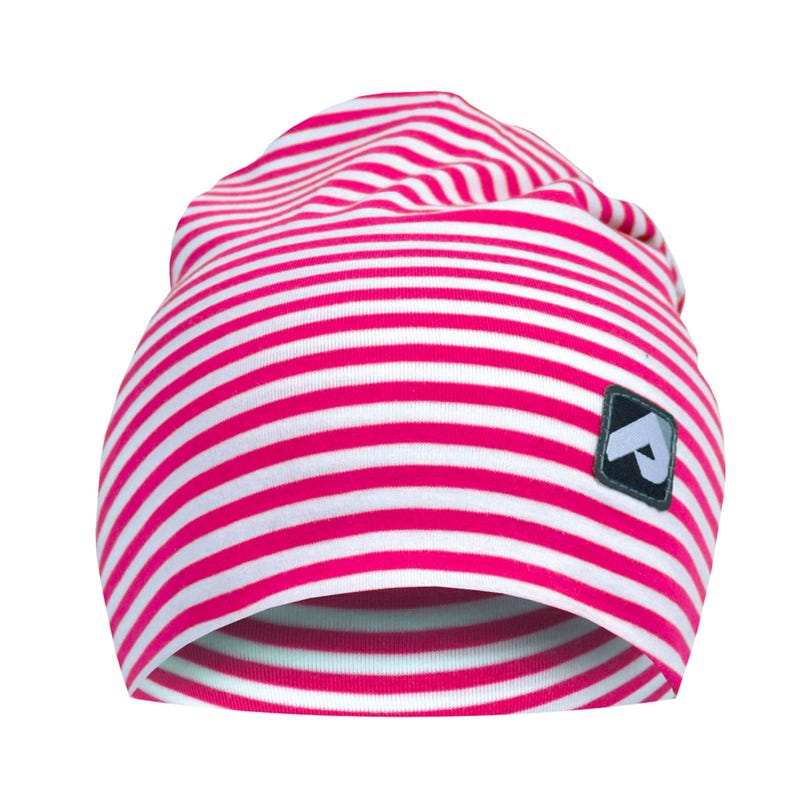 Cotton Beanie 0-24m - Fuschia Striped