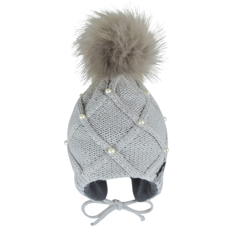 Beaded Grey Beanie 0-24m