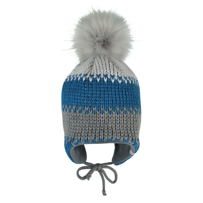Striped Blue Beanie 0-24m
