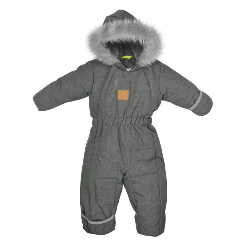 Grey Textured Snowsuit 9-24m