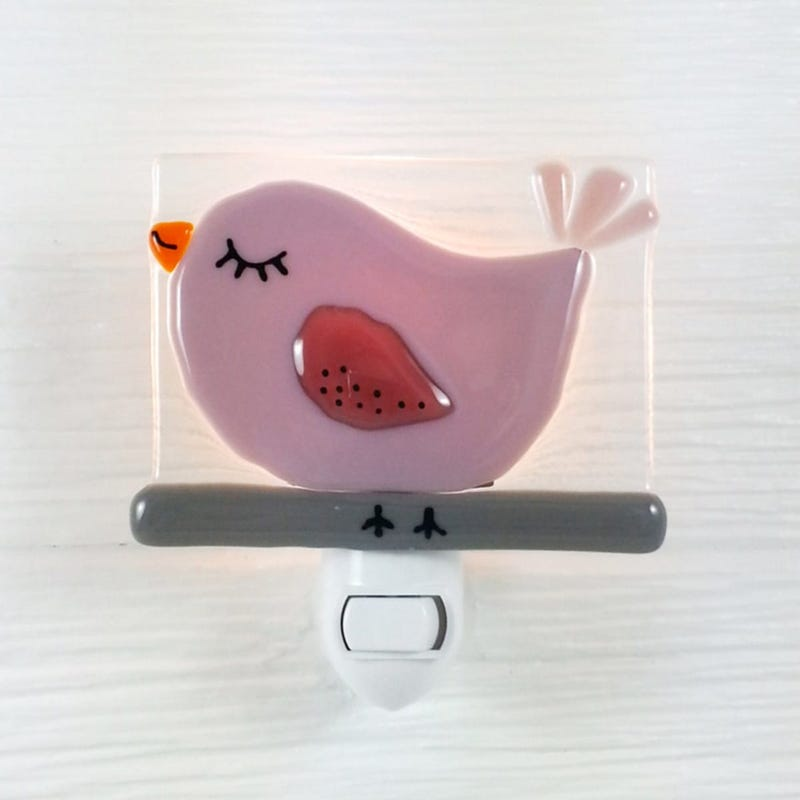 Glass Nightlight - Beatrice Pink Bird