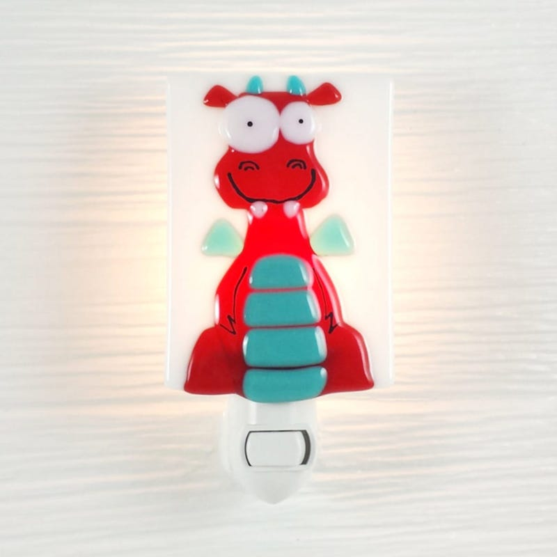 Glass Nightlight - Frank Red Dragon
