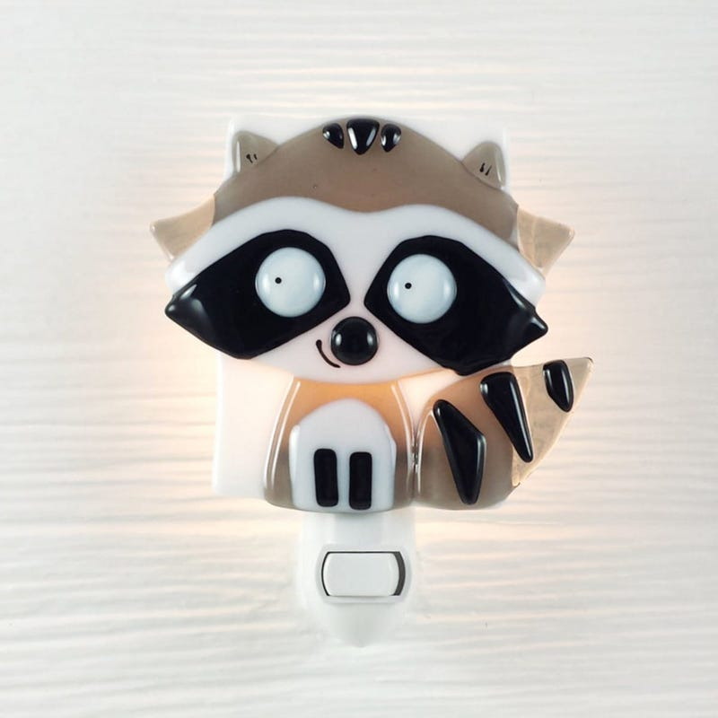 Glass Nightlight - Gaston Gray Racoon