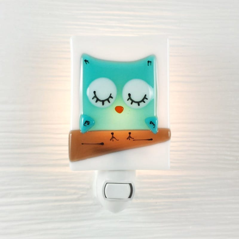 Glass Nightlight - Blue Owl