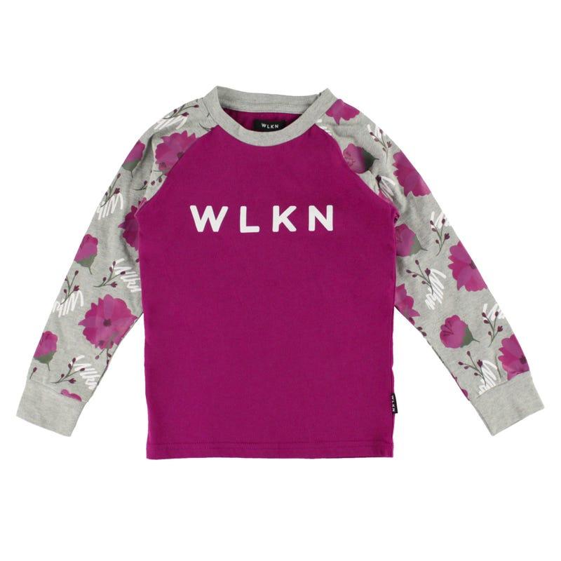 T-Shirt à Manches Longues Raglan Fleur 2-14ans