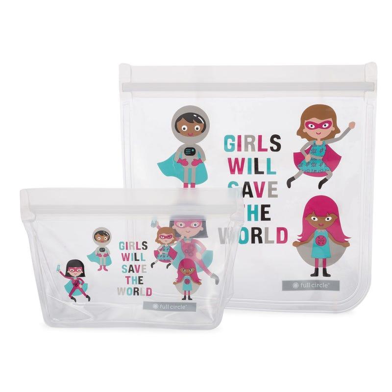 Ziptuck Reusable Lunch Bags 2-pack - Girls Heroes