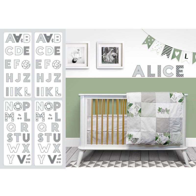 Letters Wall Stickers  - Grey