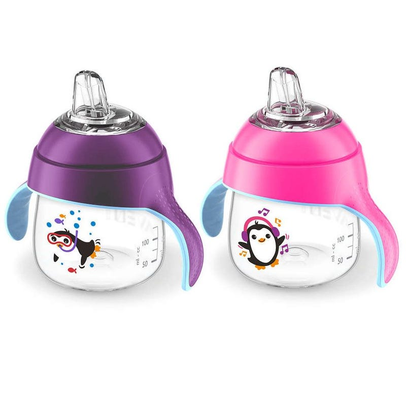 My Penguin Sippy Cup Set of 2 7oz - Purple/Pink