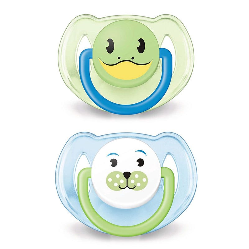 Animals Pacifiers 6-18months Set of 2