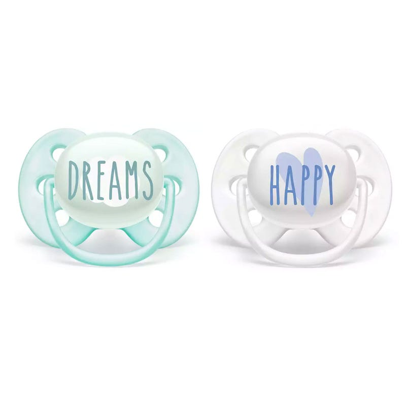 Ultra Soft Pacifier 0-6m 2-Pack - Dreams and Happy