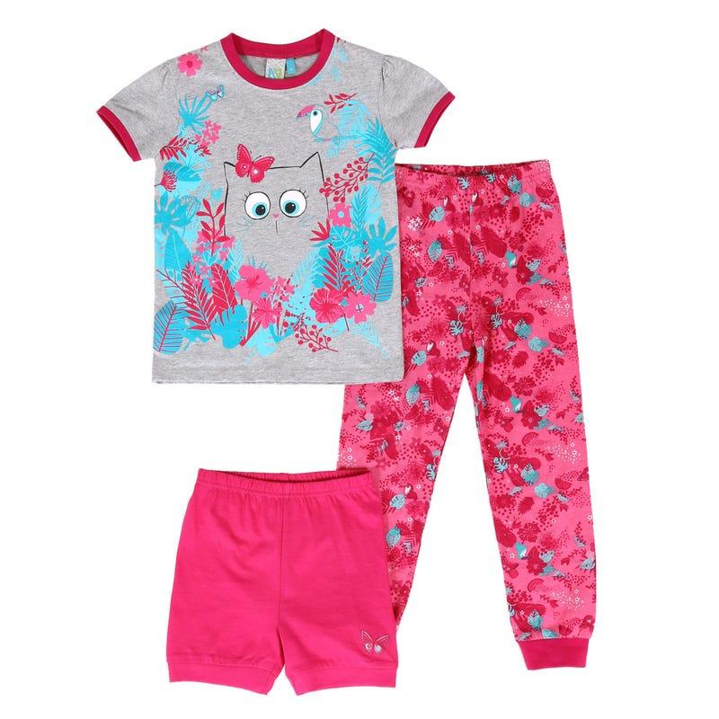 Pyjama 3 Pièces Chat Fleurs 2-6ans